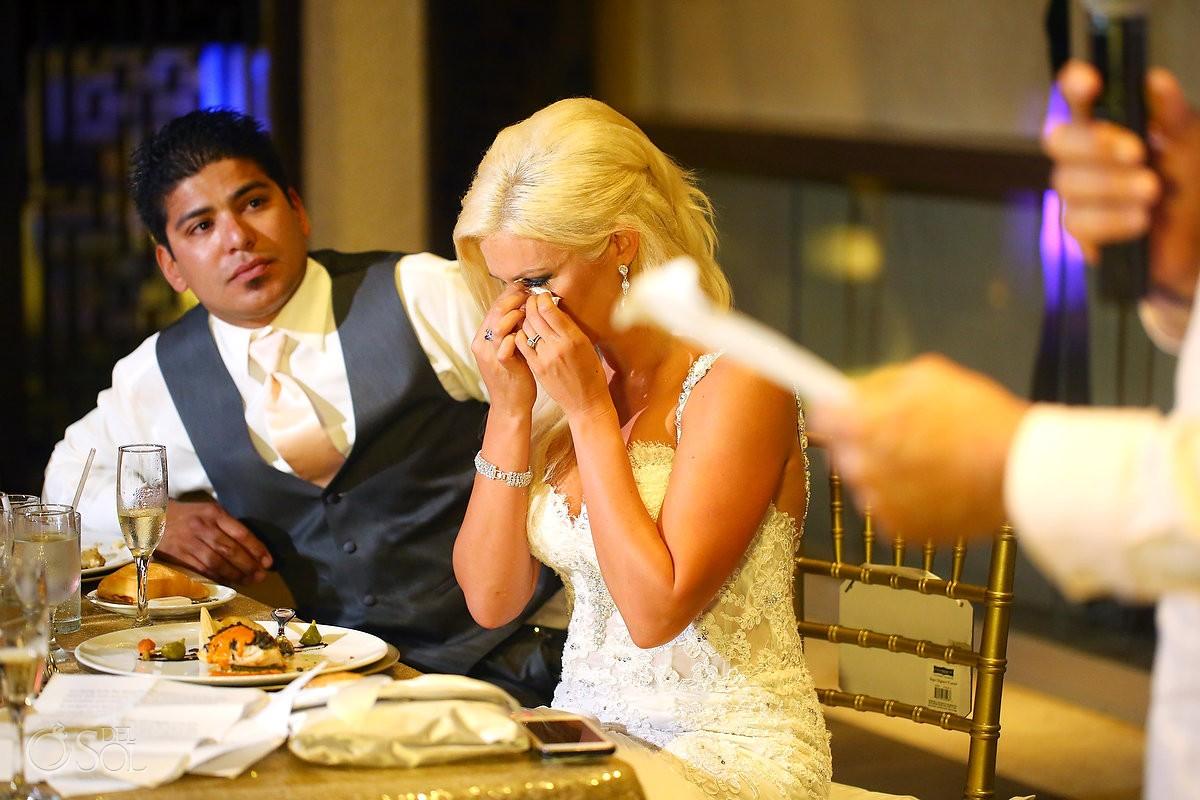 bride crying during speeches destination wedding reception Gabi Club Paradisus La Perla, Playa del Carmen, Mexico.