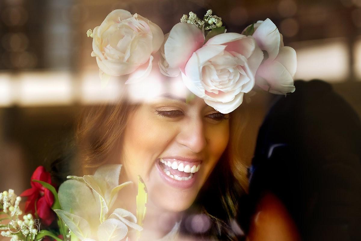 Creative bridal portrait flower crow bohemian bride style, el Taj hotel playa del Carmen