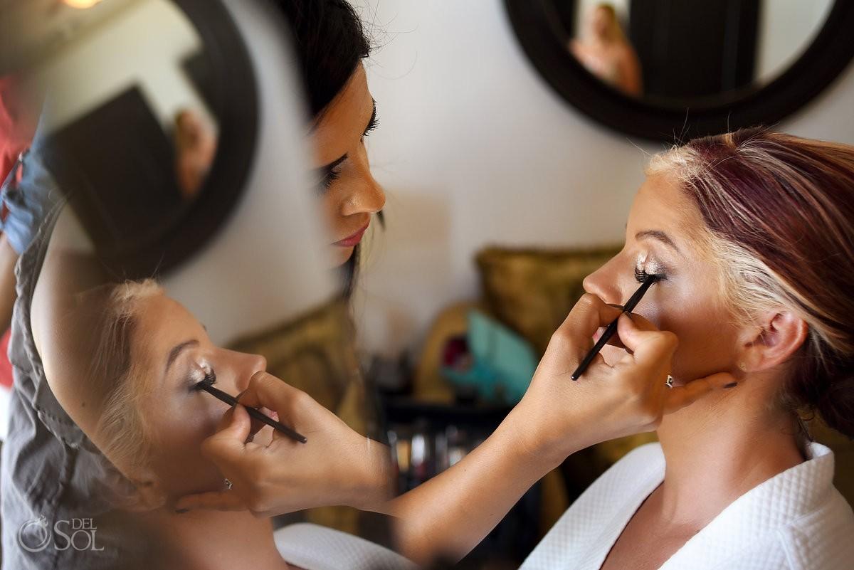 Sara Tamargo doing bride's make up Hyatt Zilara gazebo wedding Cancun, Mexico