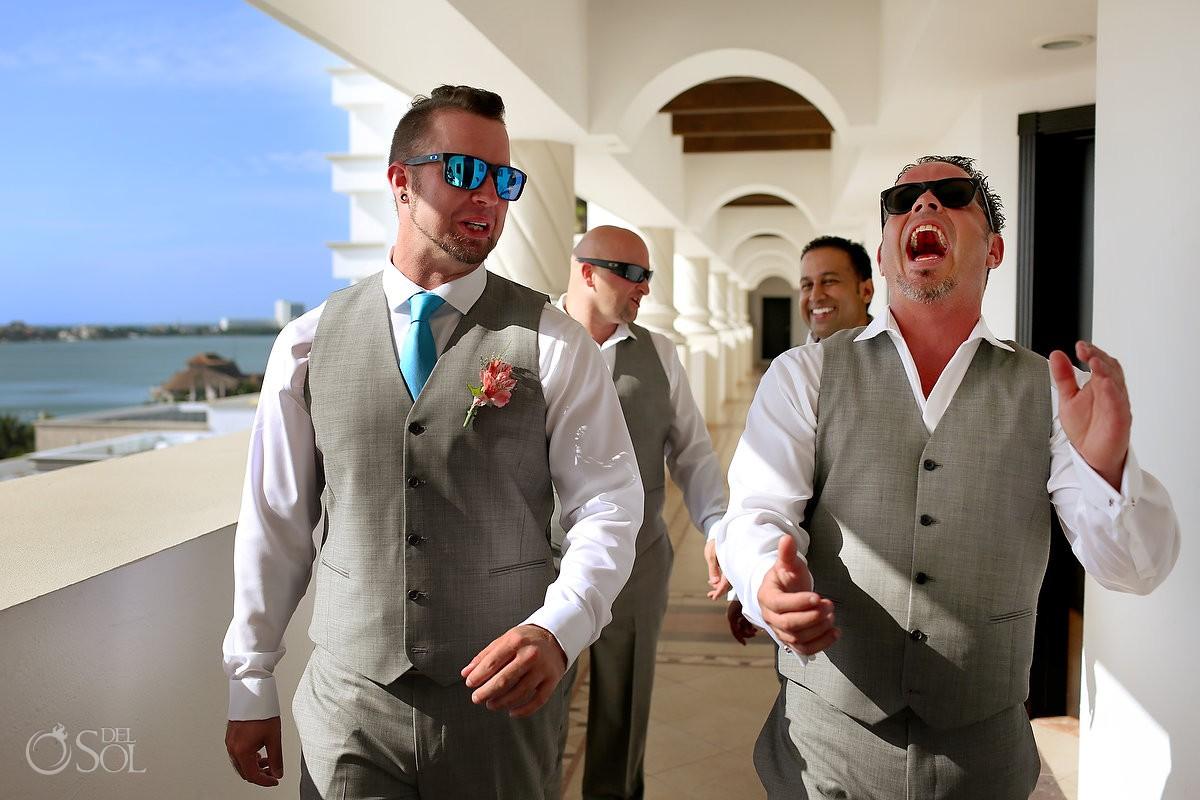 groom groomsmen walking to Hyatt Zilara gazebo wedding ceremony, Cancun, Mexico
