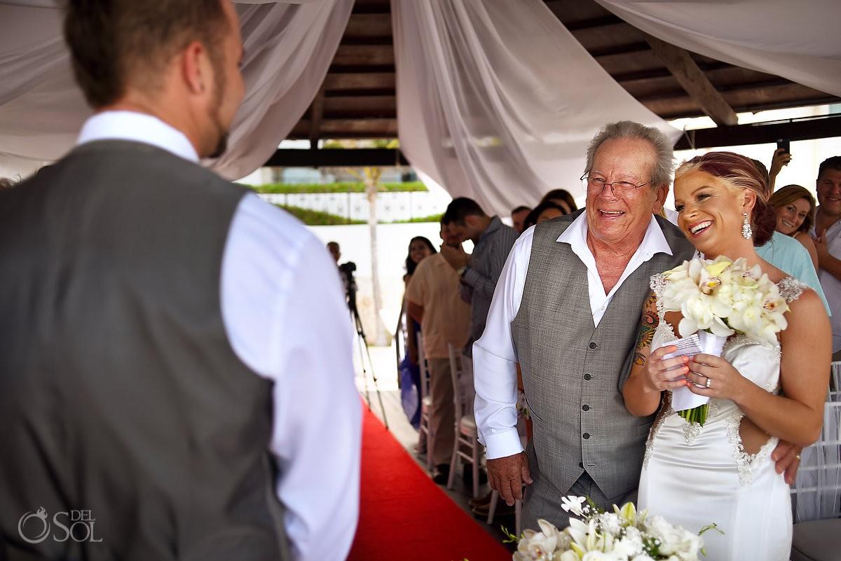 Presentation of the bride father gives daughter hug, Hyatt Zilara gazebo wedding ceremony, Cancun, Mexico