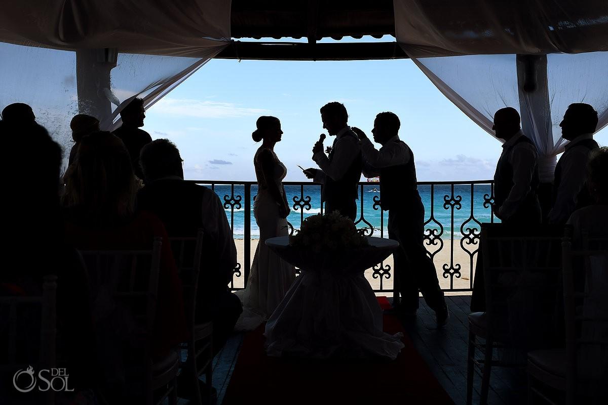 Pat on the back, Hyatt Zilara gazebo wedding ceremony silhouette, Cancun, Mexico