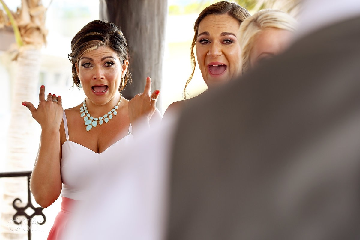 emotional bridesmaid crying destination Hyatt Zilara gazebo wedding ceremony, Cancun, Mexico