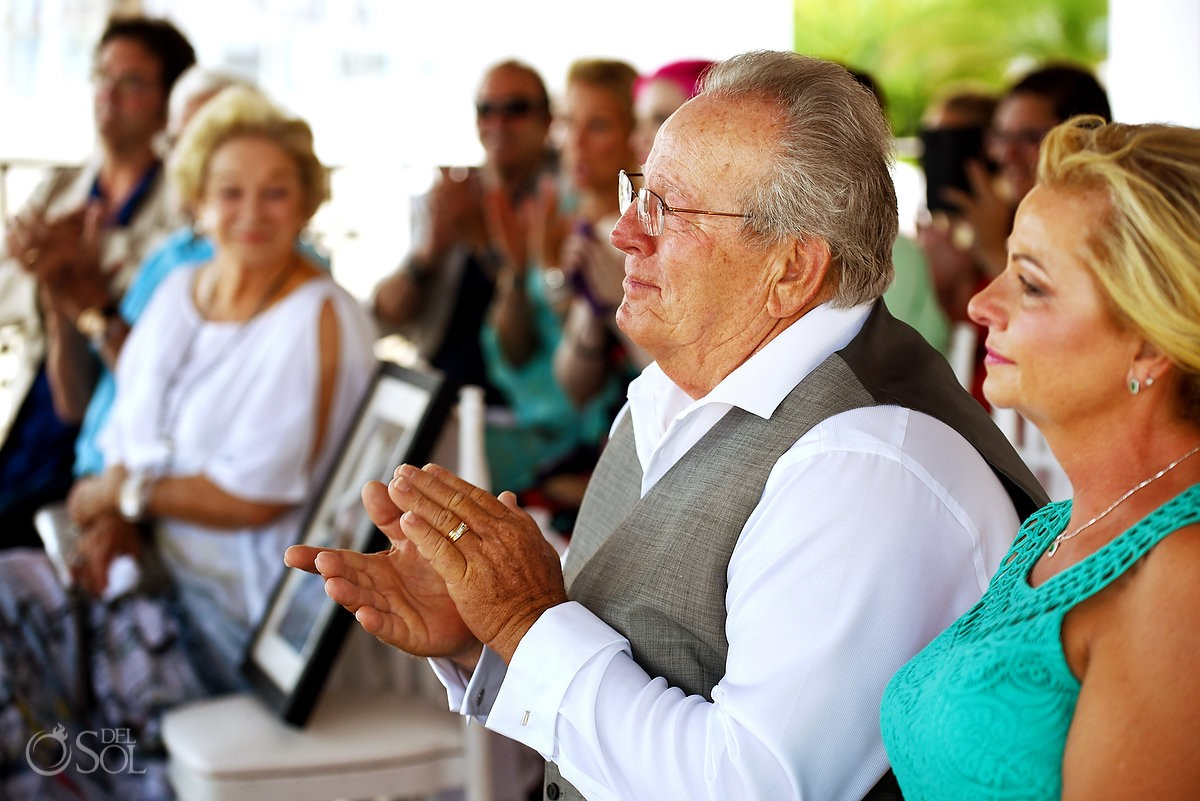 father of the bride applauding Hyatt Zilara gazebo wedding ceremony, Cancun, Mexico