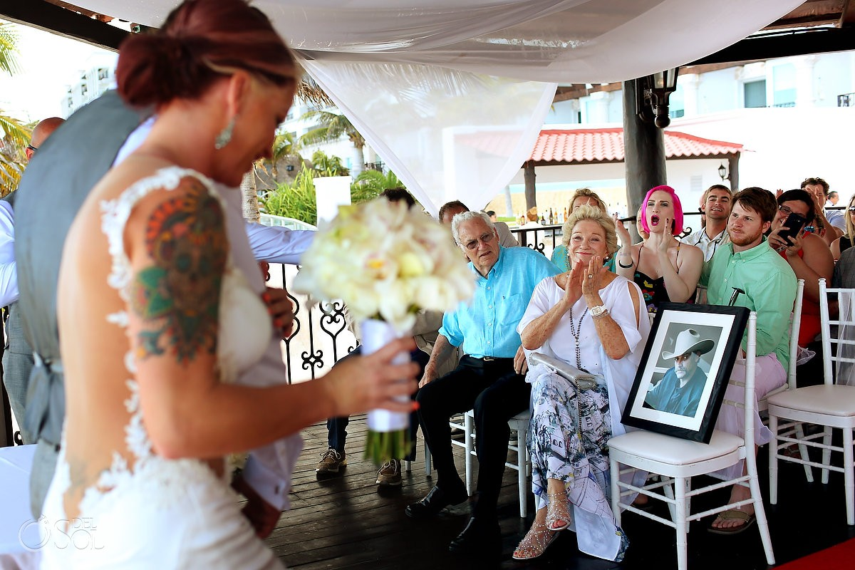 ceremony exit guests applauding Hyatt Zilara gazebo wedding ceremony, Cancun, Mexico