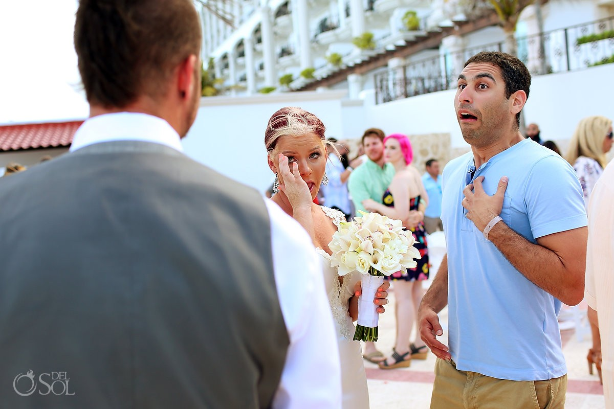 emotional guests congratulate bride and groom funny face Hyatt Zilara gazebo wedding ceremony, Cancun, Mexico