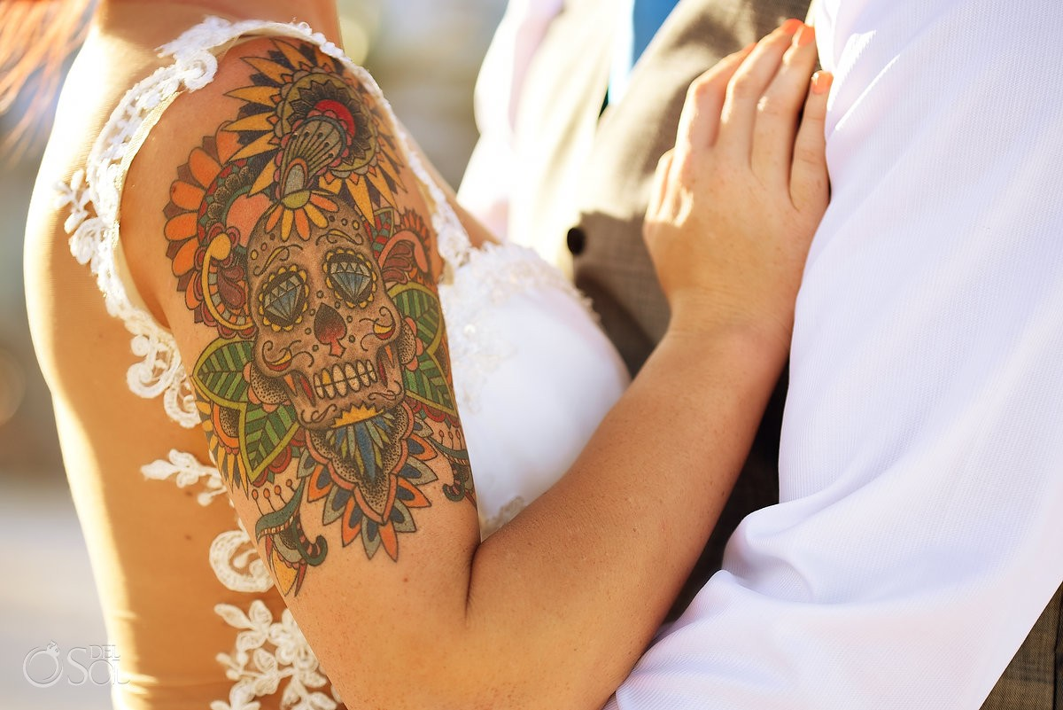 bride with Mexican sugar skull tattoo rock and roll, Sunset golden hour beach destination wedding portrait, Hyatt Zilara, Cancun, Mexico