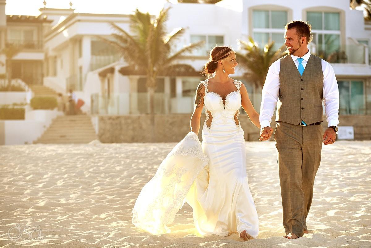 Sunset golden hour beach destination wedding portrait, Hyatt Zilara, Cancun, Mexico