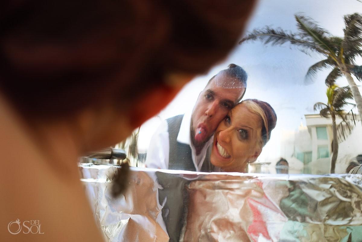 goofy fun bride and groom pulling faces Sunset golden hour beach destination wedding portrait, Hyatt Zilara, Cancun, Mexico