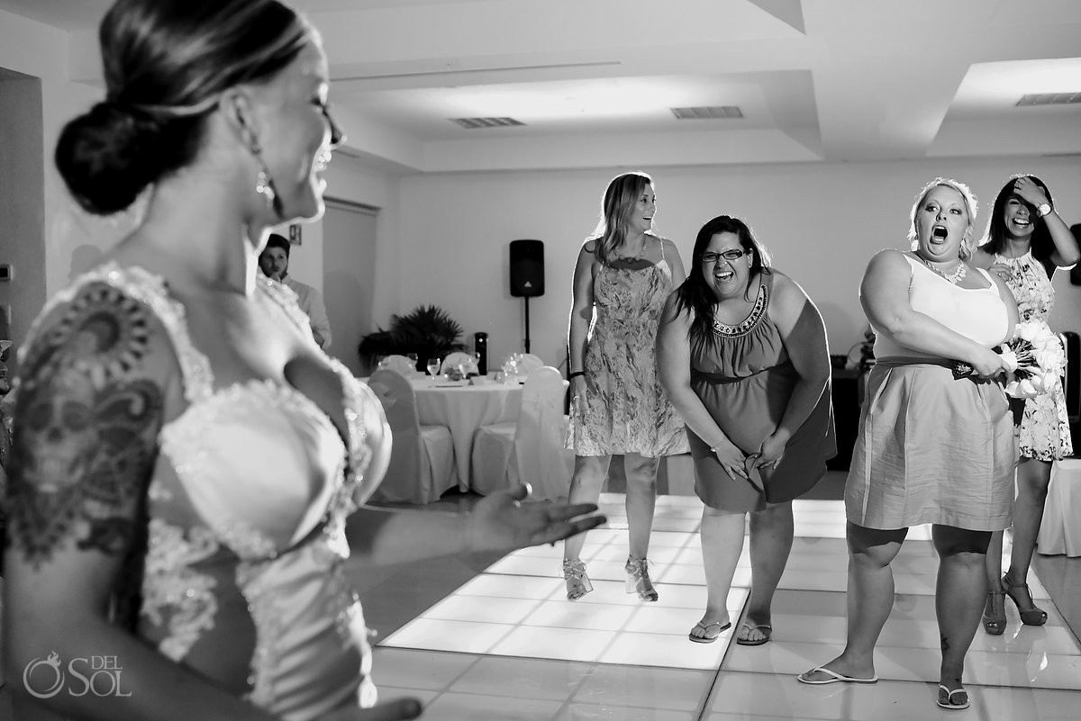 bouquet toss destination wedding reception Hyatt Zilara Ballroom Cancun Mexico