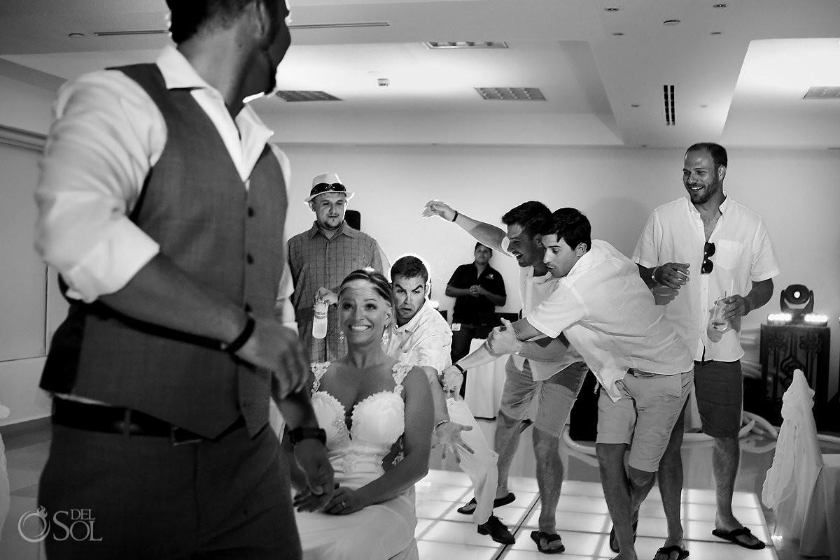 garter toss destination wedding reception Hyatt Zilara Ballroom Cancun Mexico