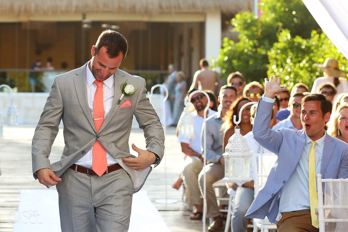groom enters ceremony Destination Wedding Paradisus Gabi Bridge