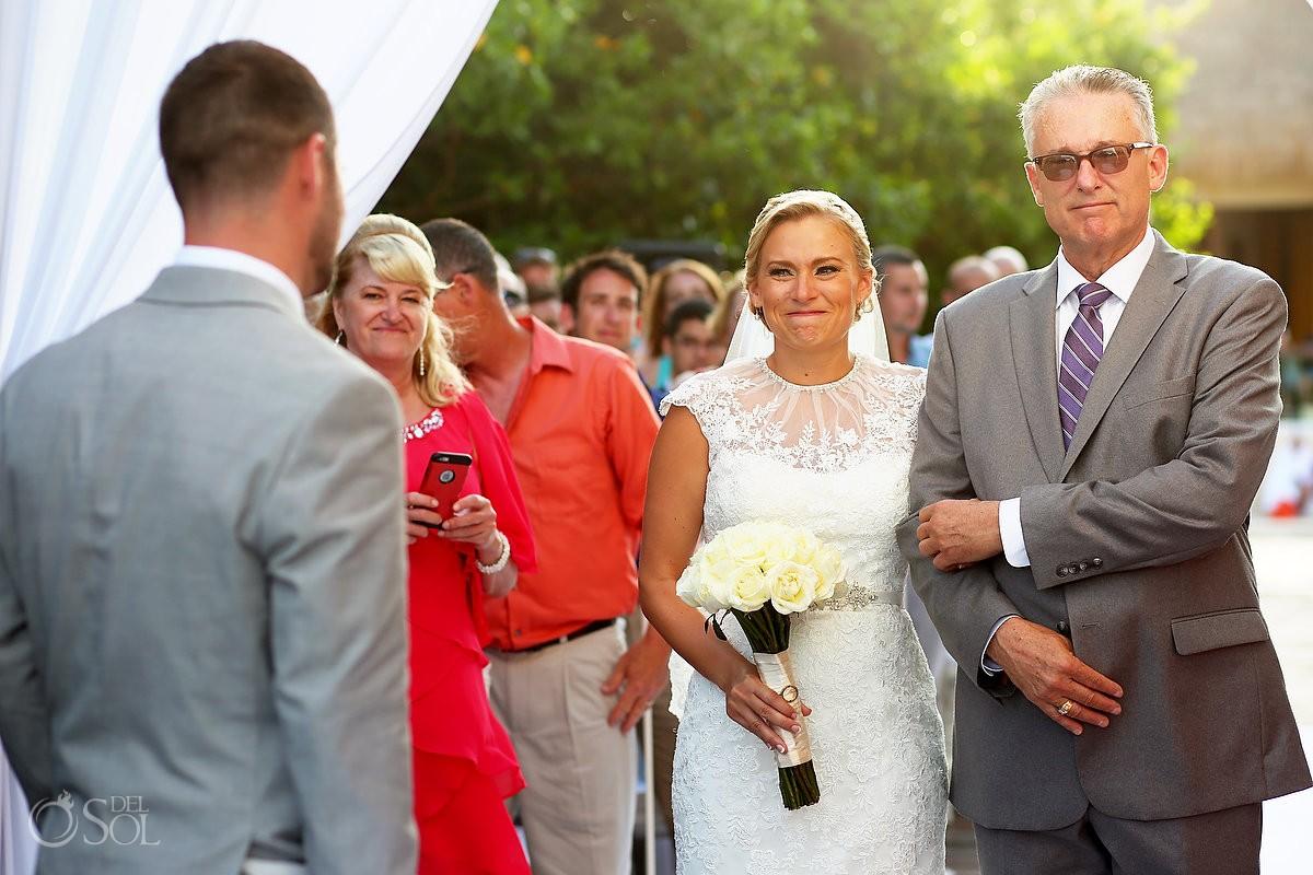 giving the bride away emotional ceremony moment Destination Wedding Paradisus Gabi Bridge