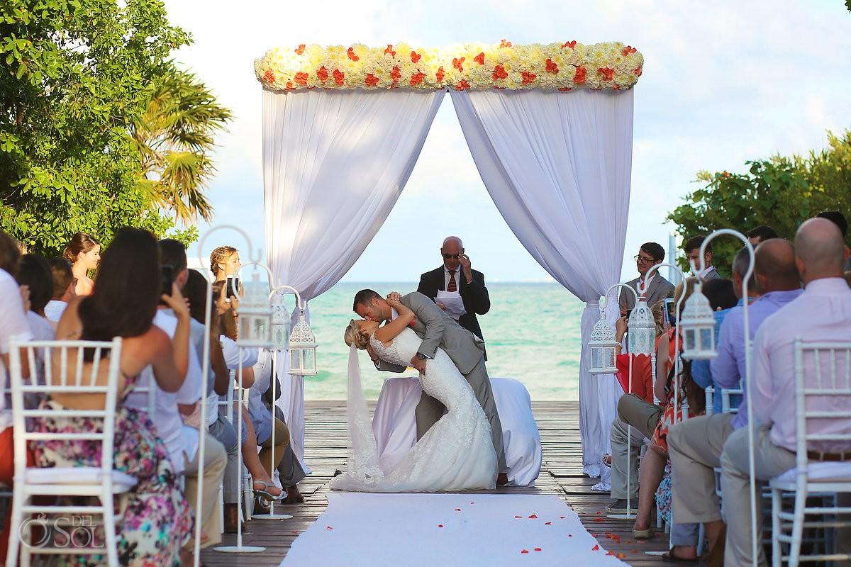 Epic first kiss dip Destination Wedding Paradisus Gabi Bridge
