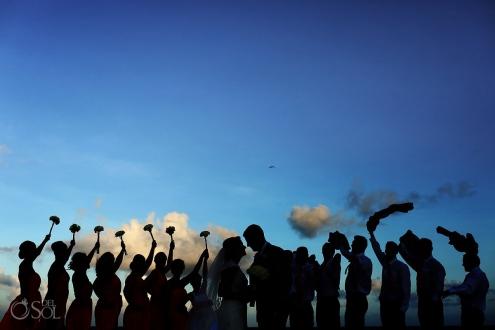 creative wedding party photo idea, silhouette Destination Wedding Paradisus Gabi Bridge