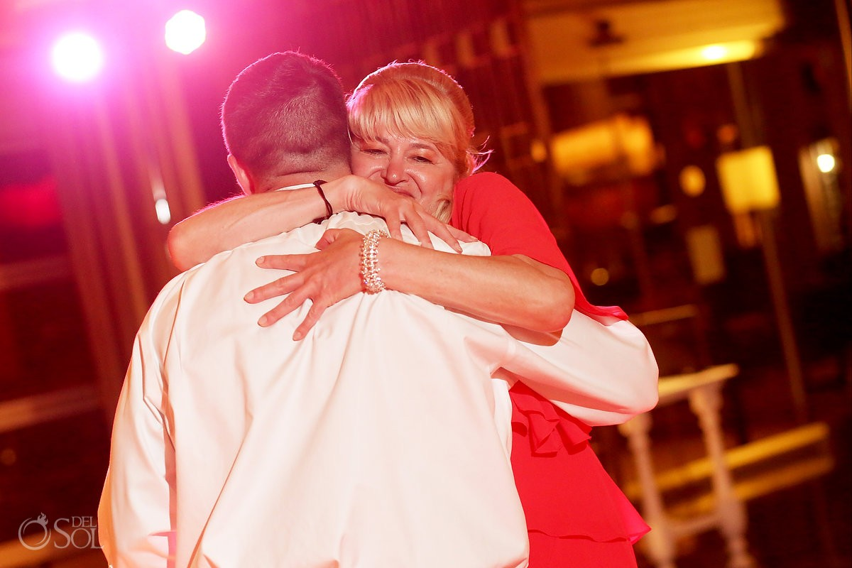 mother of the groom dance mother son emotional hug, destination wedding reception Paradisus Hadar restaurant