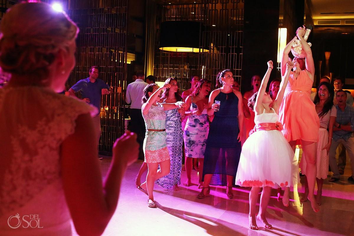 bouquet toss destination wedding reception Paradisus Hadar restaurant