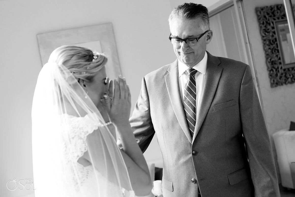 First look father daughter emotional bride crying, getting ready Destination Wedding Paradisus La Esmeralda