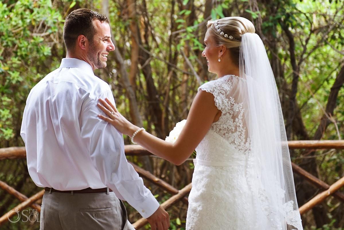 first look Paradisus gazebo Destination Wedding Playa del Carmen, Mexico