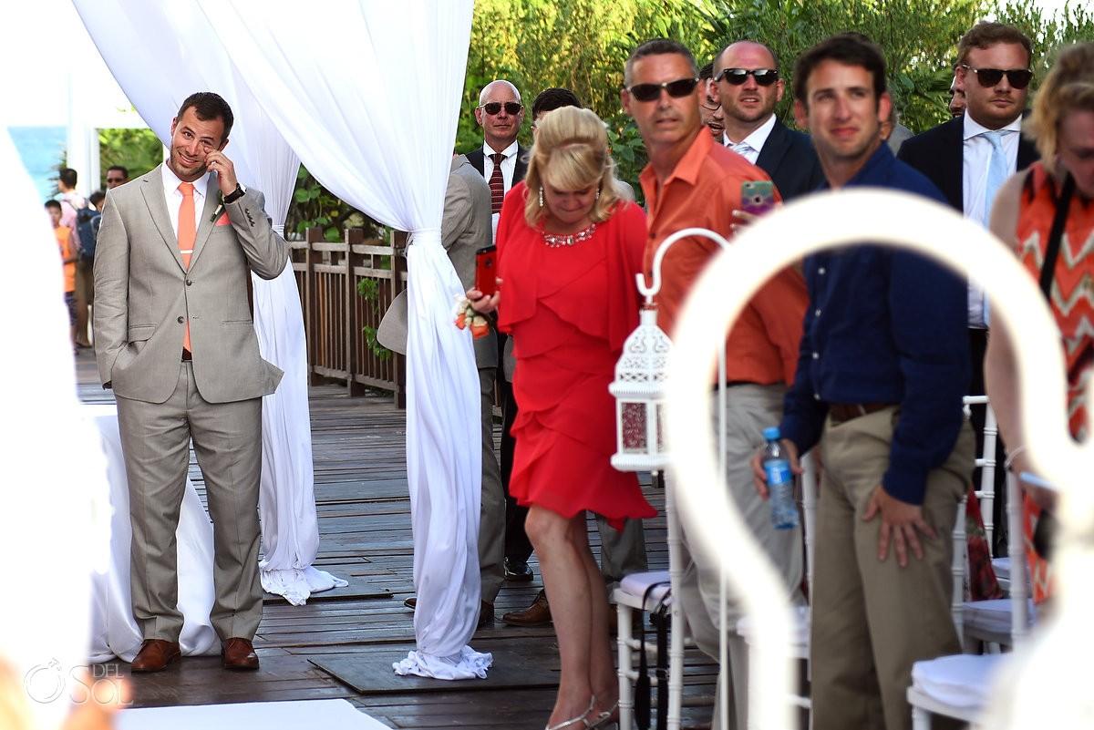 groom crying wiping tears watching bride walk down the aisle, Destination Wedding Paradisus Gabi Bridge