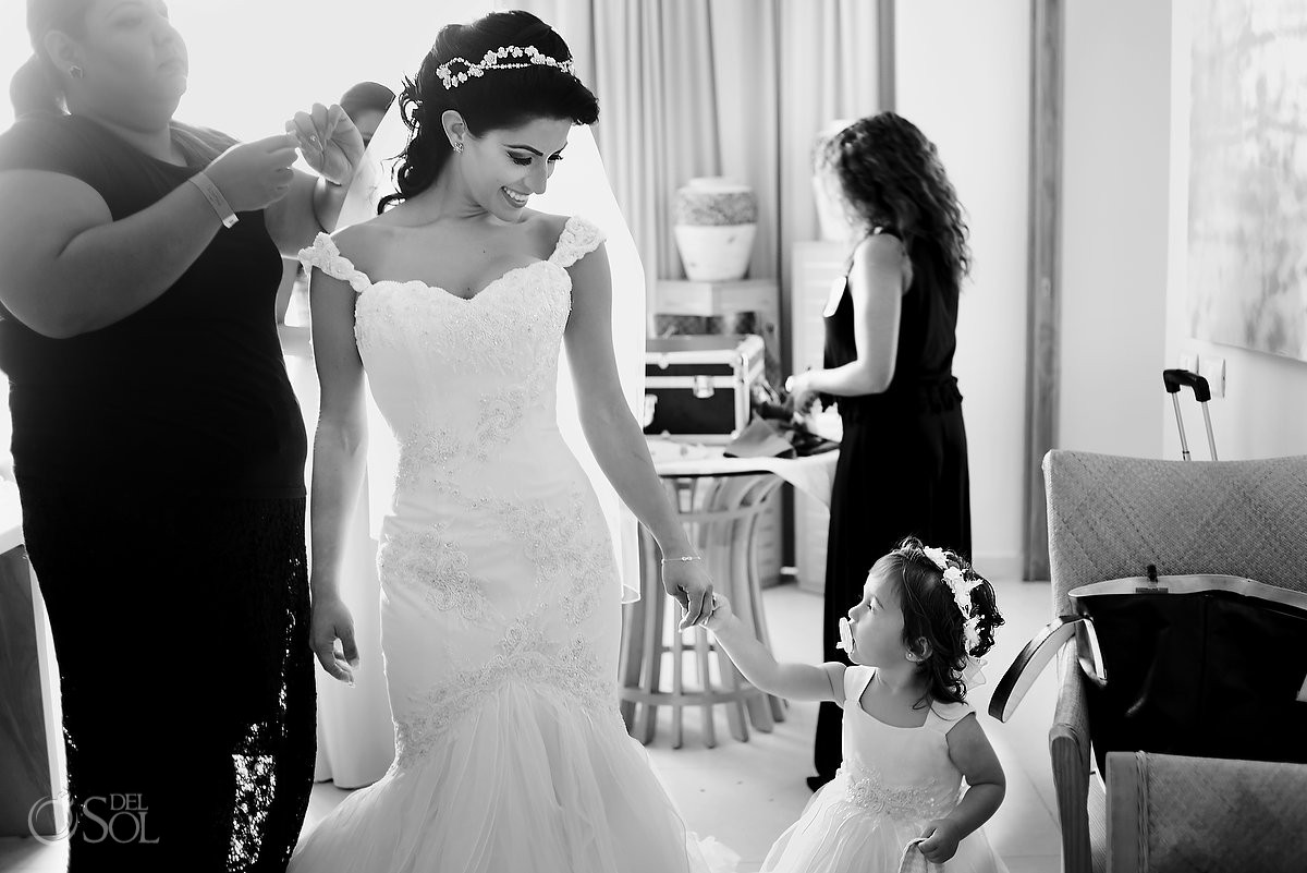 bride and daughter flower girl getting ready destination wedding Beach Palace, Cancun, Mexico