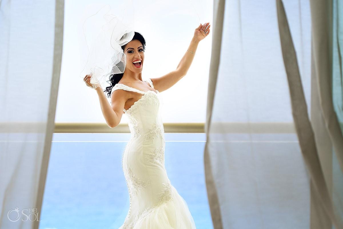 fun bride portrait, getting ready destination wedding Beach Palace, Cancun, Mexico