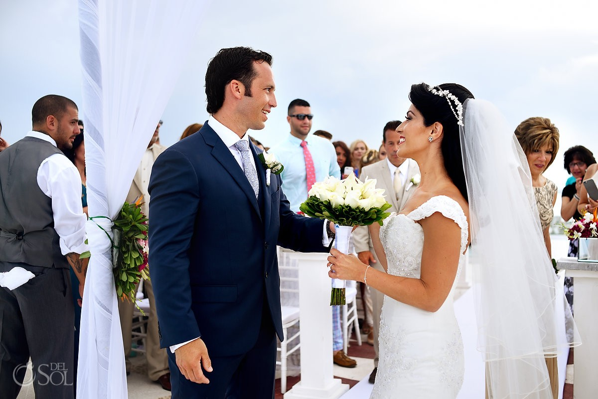 4th July destination wedding ceremony Beach Palace sky deck, Cancun, Mexico