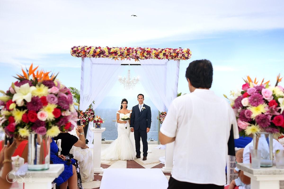 4th July destination wedding ceremony Beach Palace sky deck, Cancun, Mexico