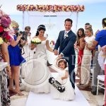 Cute flower girl sign happily ever after destination wedding ceremony Beach Palace sky deck, Cancun, Mexico #travelforlove