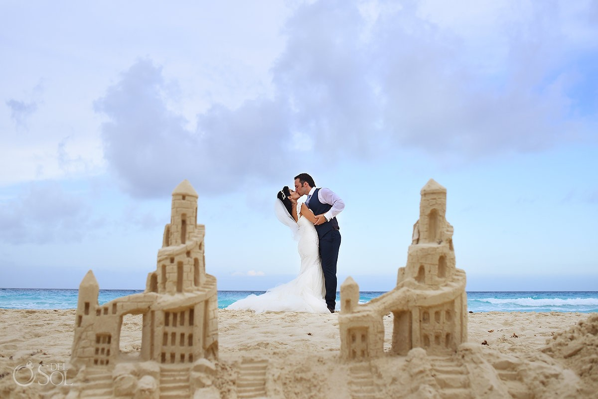 sandcastle creative wedding portrait Beach Palace Cancun, Mexico