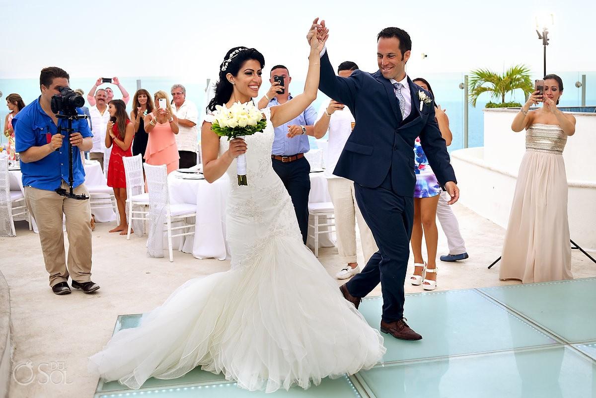 destination wedding reception entrance Beach Palace Cancun Sky Terrace