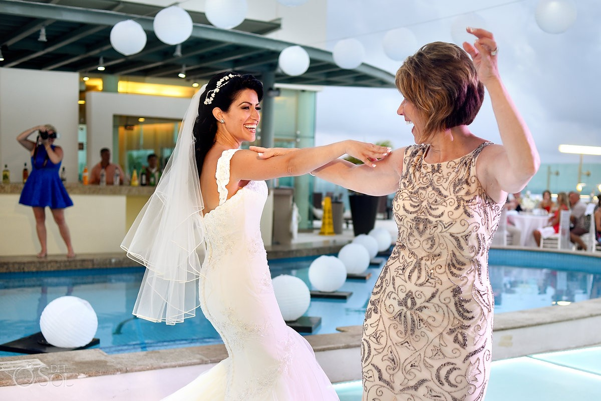 mother daughter first dance destination wedding reception Beach Palace Cancun Sky Terrace