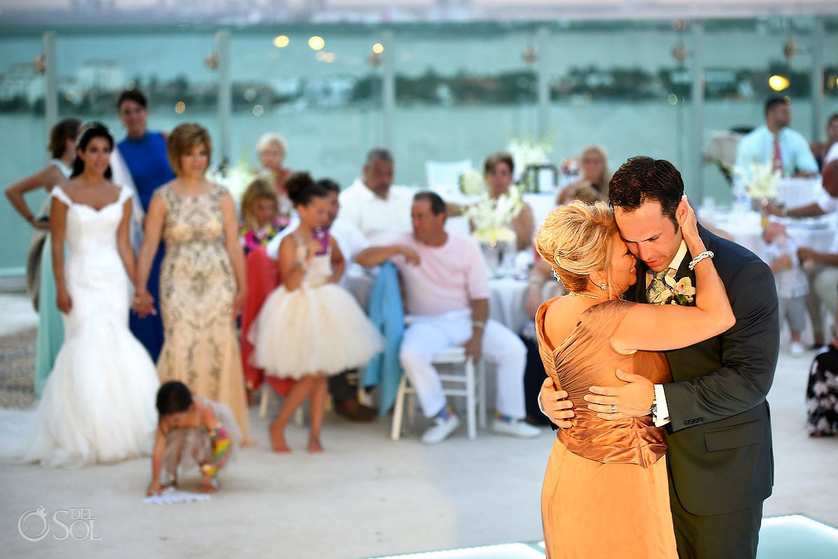 destination wedding reception first dance Beach Palace Cancun Sky Terrace