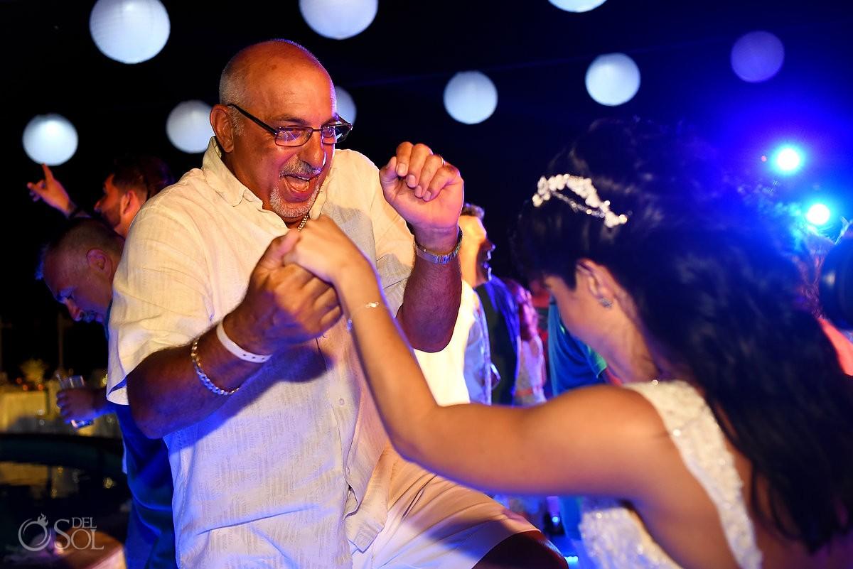 dancing fun destination wedding reception Party Beach Palace Cancun Sky Terrace