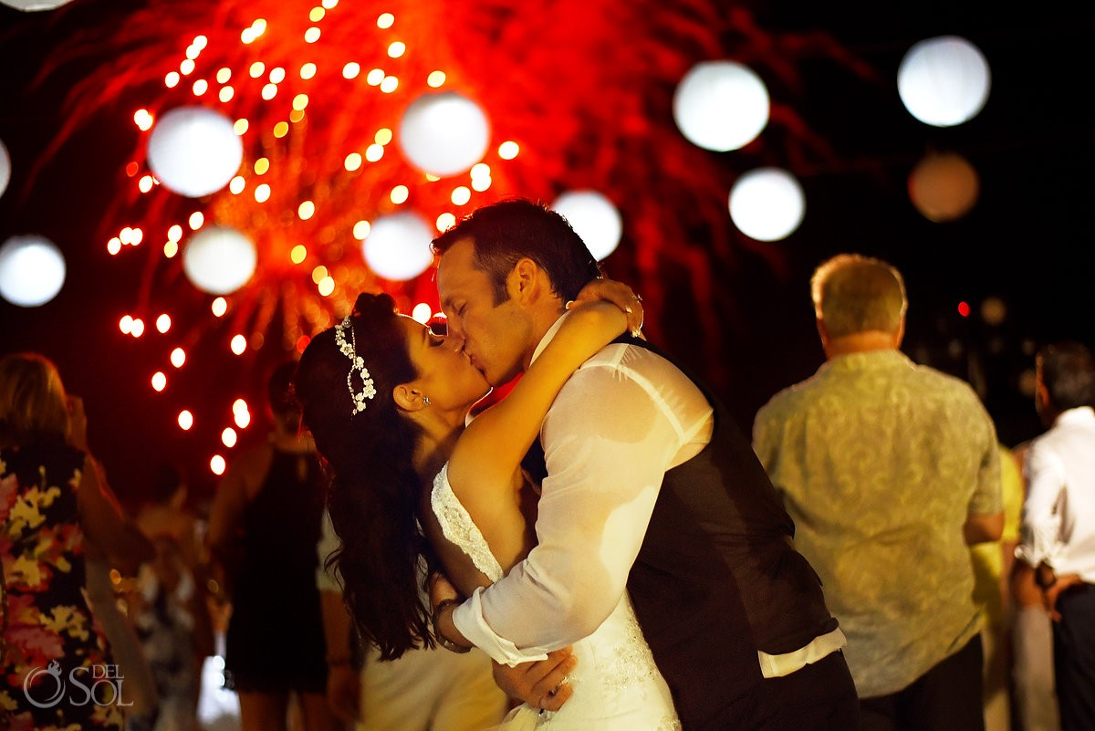 4th July fireworks wedding portrait reception party Beach Palace Cancun Sky Terrace