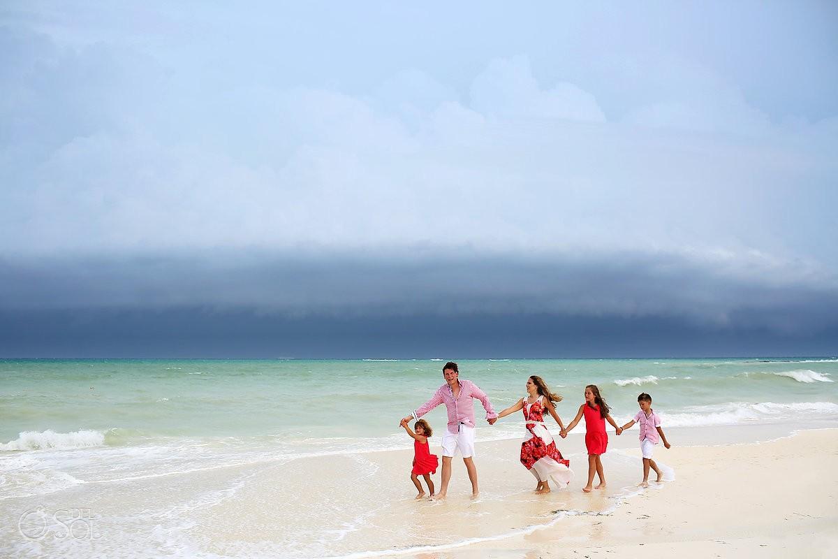 Hurricane Earl beach family portrait Fairmont Mayakoba, Playa del Carmen, Mexican Carribbean, Mexico