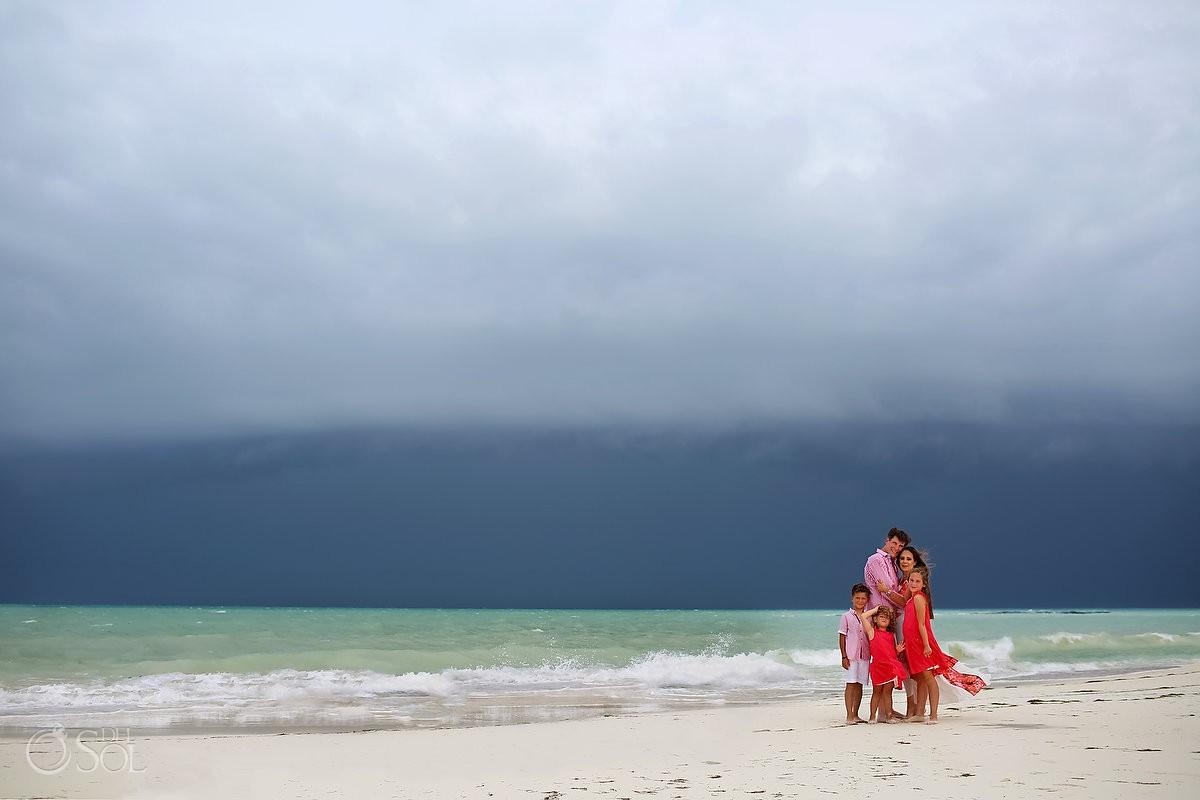 Hurricane season beach family portrait Fairmont Mayakoba, Playa del Carmen, Mexican Carribbean, Mexico