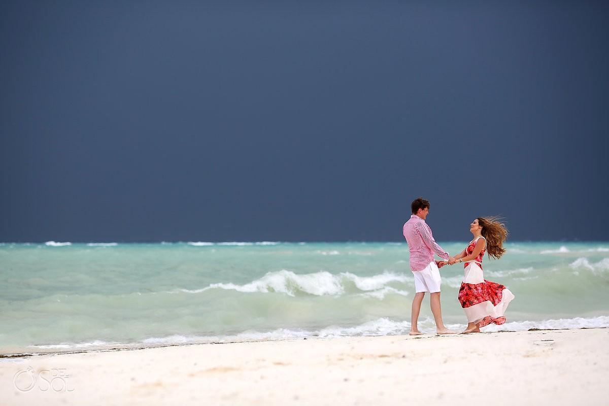 Hurricane Earl beautiful color beach family portrait Fairmont Mayakoba, Playa del Carmen, Mexican Carribbean, Mexico