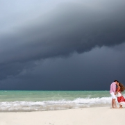 Hurricane Earl amazing sky beach family portrait Fairmont Mayakoba, Playa del Carmen, Mexican Carribbean, Mexico
