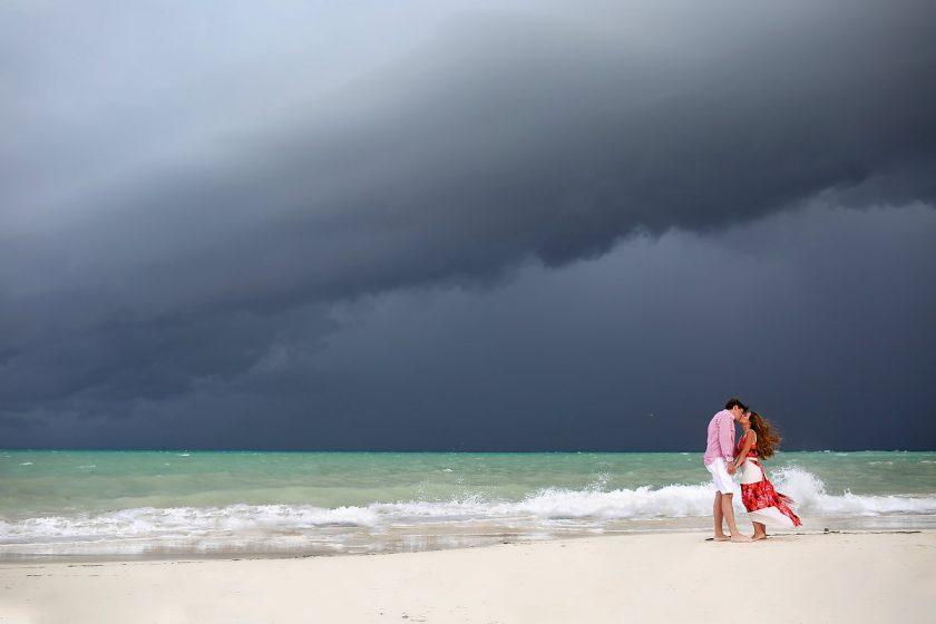 Hurricane Earl amazing sky beach family portrait Fairmont Mayakoba, Playa del Carmen, Mexican Carribbean, Mexico