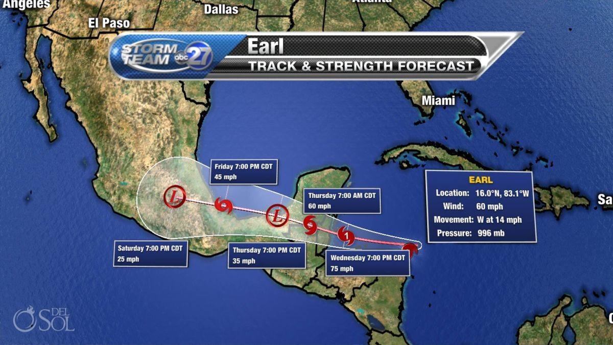 Hurricane Earl forecast weather map