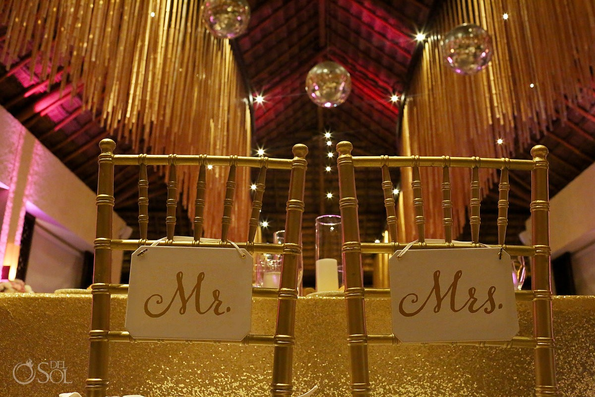 Mr and Mrs signs for chairs destination wedding reception decoration ideas