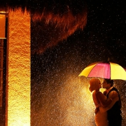 creative wedding portrait rain destination wedding reception Gabi Club Paradisus La Perla, Playa del Carmen, Mexico.