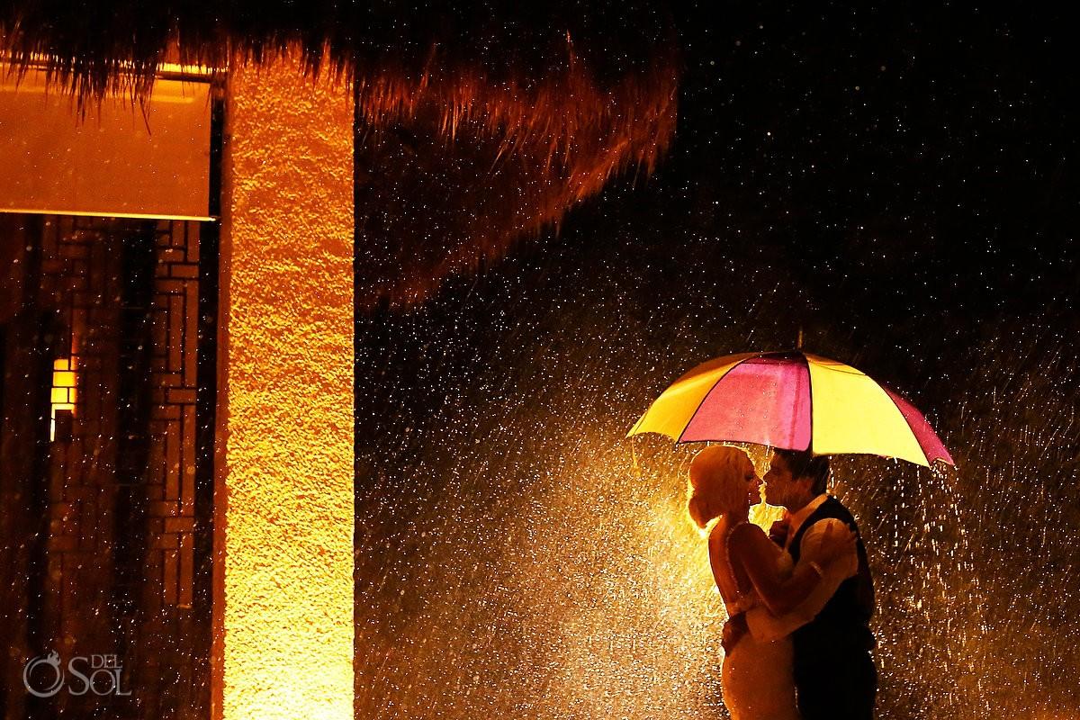 creative wedding portrait rain destination wedding reception Gabi Club Paradisus La Perla, Playa del Carmen, Mexico.