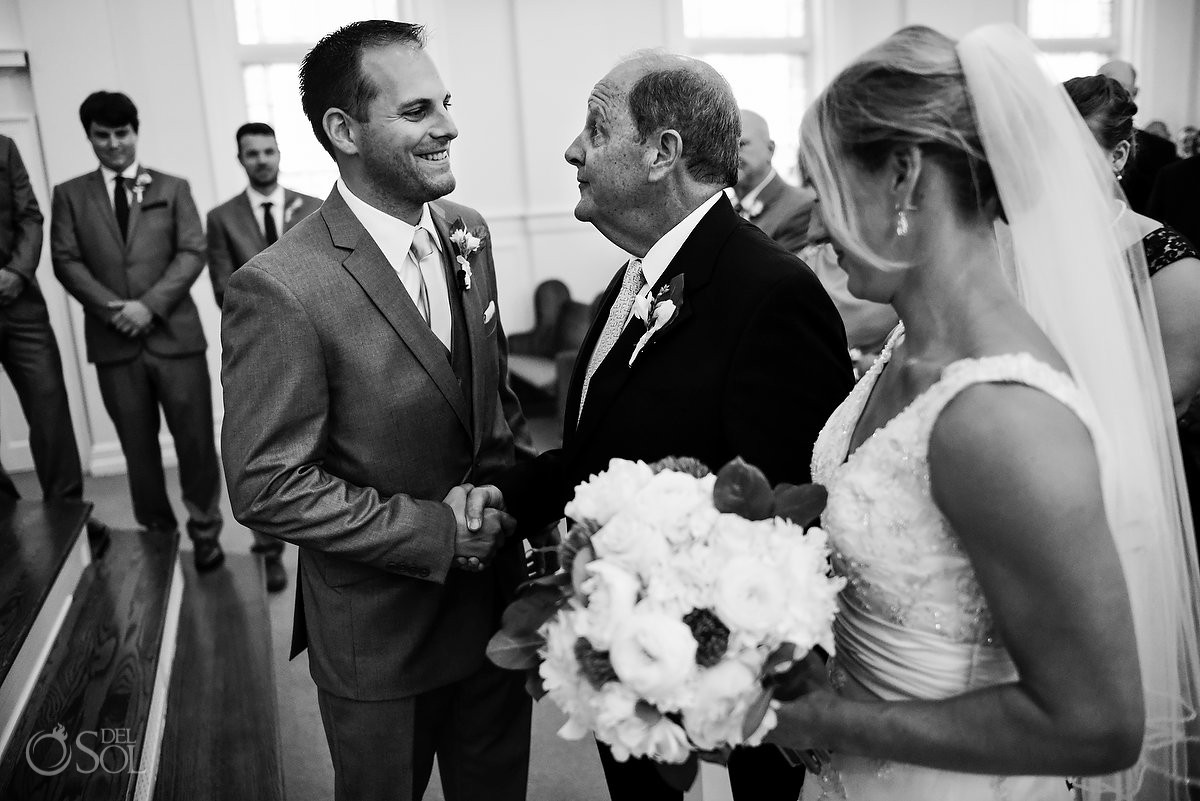 wedding processional with groom and father of the bride at First Baptist St. Simons Church