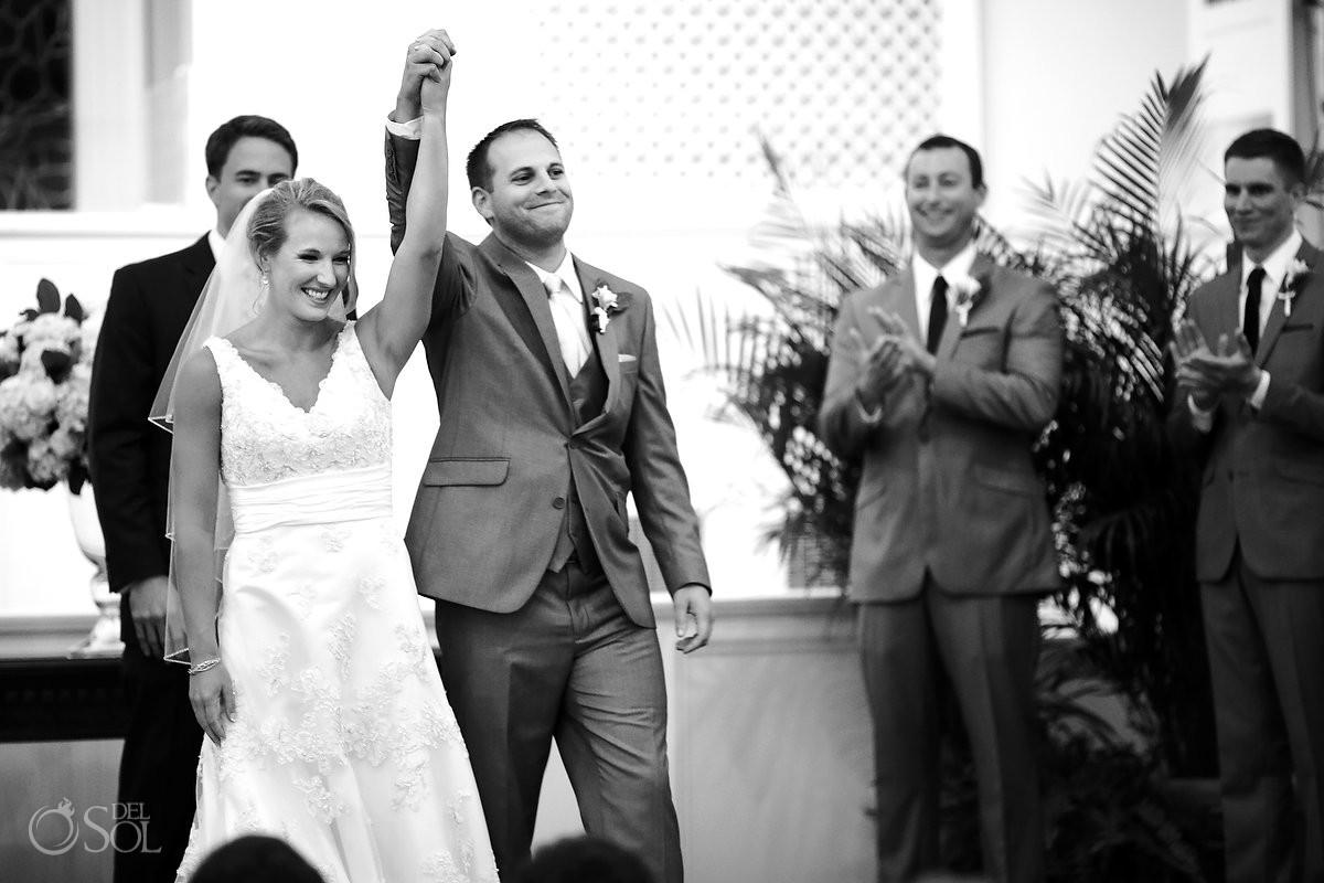 celebratory bride and groom Wedding at First Baptist St. Simons Church