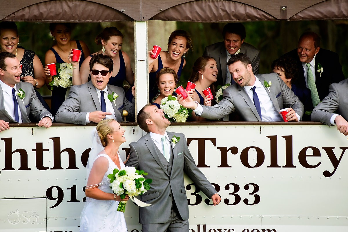 St Simons Trolley service with bride and groom wedding