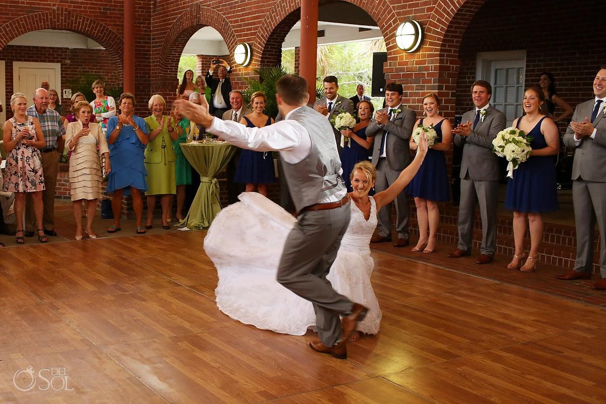 bride and groom first dance at the Casino Atrium - St. Simons Island, Georgia