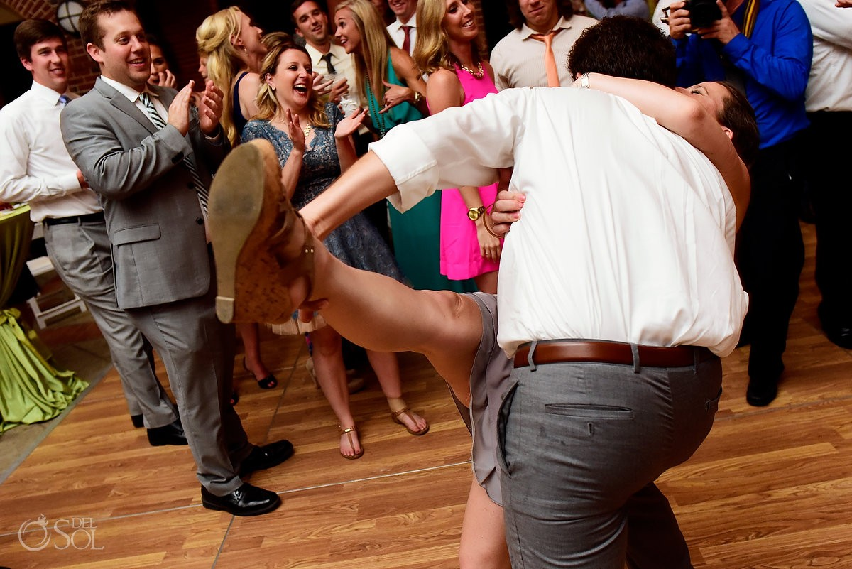 destination wedding photo with guests dancing at wedding reception on st simons island