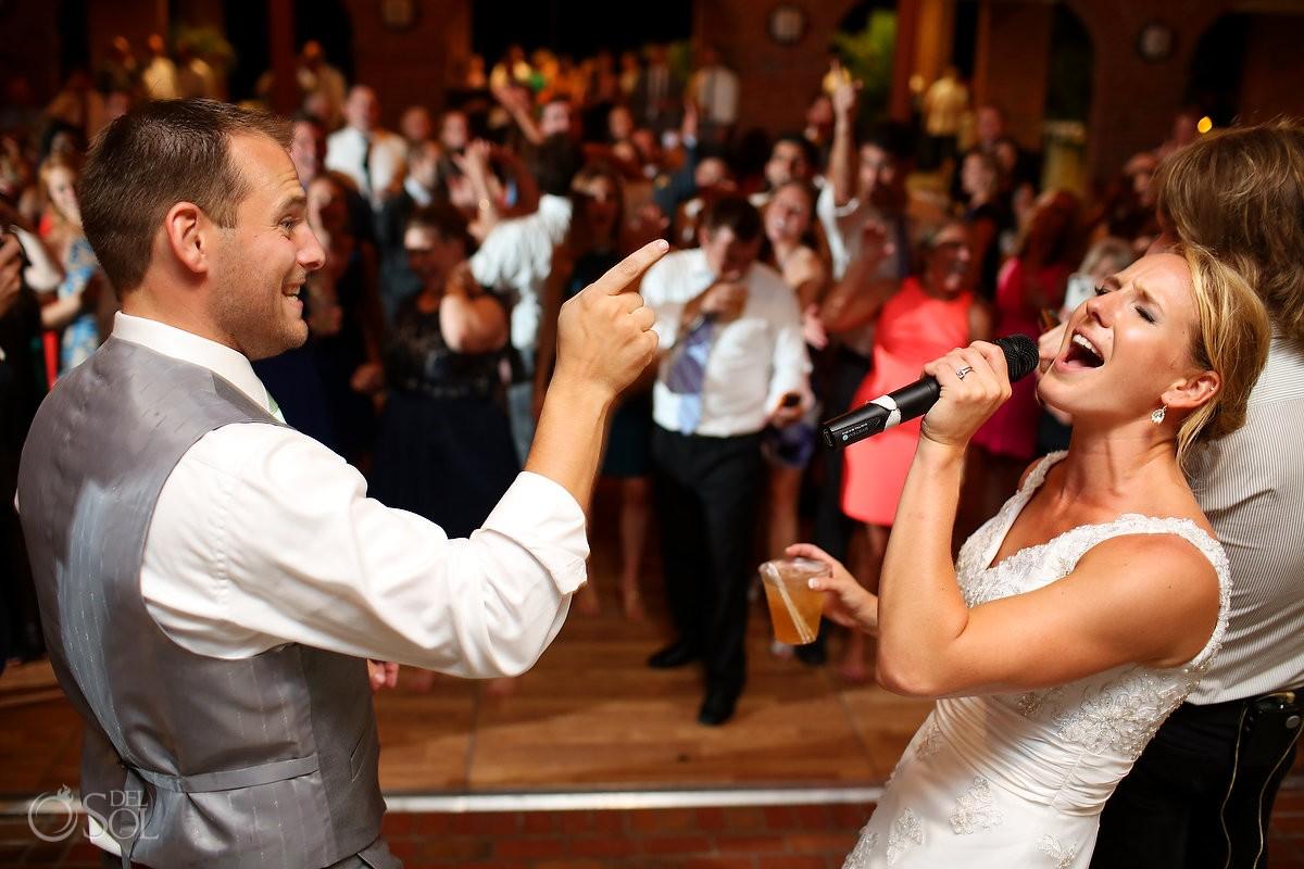 bride and groom sing wedding reception Casino Atrium - St. Simons Island, Georgia